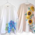 3XLビッグサイズ紫陽花柄とひまわり柄の手描きTシャツオーダー