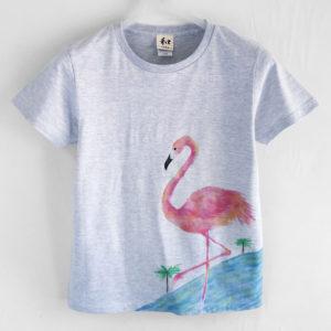 フラミンゴ柄Tシャツ、トロピカルな南国フラミンゴの手描きTシャツ。