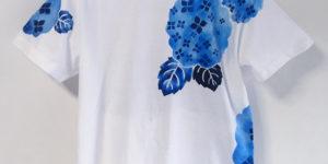 アジサイの花柄Tシャツ セミオーダー