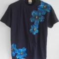 I舞桜柄手描き 濃紺色Tシャツオーダー。