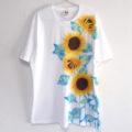 メンズサイズひまわり柄Tシャツ名前入れセミオーダー。