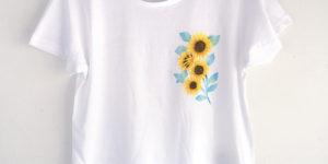 ワンポインひまわり柄Tシャツセミオーダー