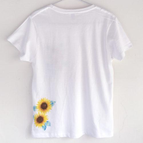 ワンポインひまわり柄Tシャツセミオーダー。
