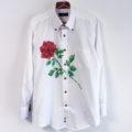 剣とバラの花柄ボタンダウンシャツオーダー。