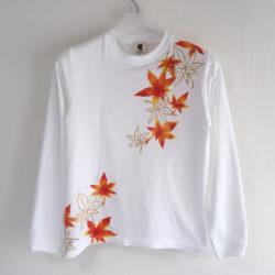 手描き舞紅葉柄袖リブロングTシャツ ホワイト