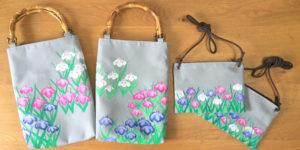 手描きの菖蒲柄バッグとポシェットのオーダー