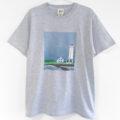 灯台柄Tシャツ、絵本のような北欧風灯台の手描きTシャツ