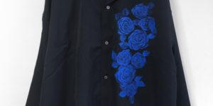 手書き青バラ柄シャツオーダー