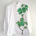 観葉植物フィカス・ウンベラータ手描きボタンダウンシャツオーダー