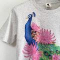孔雀の手描きTシャツオーダー