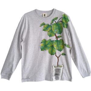 観葉植物 フィカス・ウンベラータ 手描き長袖Tシャツ袖リブ付きを追加しました。