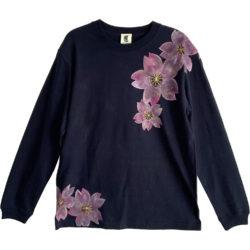 手描き舞桜柄リブ付き長袖Tシャツ ネイビー