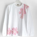 手描き舞桜柄リブ付き長袖Tシャツ ホワイト