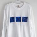 12星座選べる手描き宇宙柄長袖Tシャツホワイト